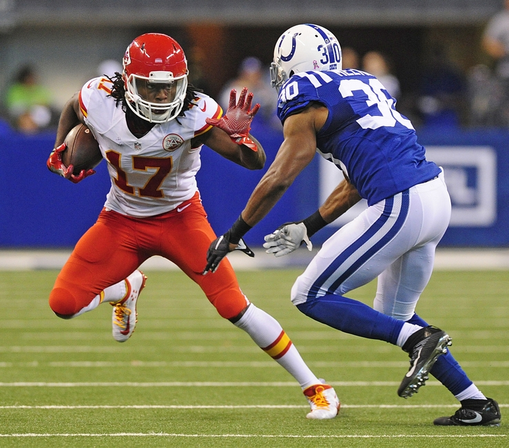 Oct 30, 2016; Indianapolis, IN, USA; Kansas City Chiefs receiver Chris Conley (17) tries to elude Indianapolis Colts corner back Rashaan Melvin (30) in the second half at Lucas Oil Stadium. The Chiefs won 30-14. Mandatory Credit: Thomas J. Russo-USA TODAY Sports