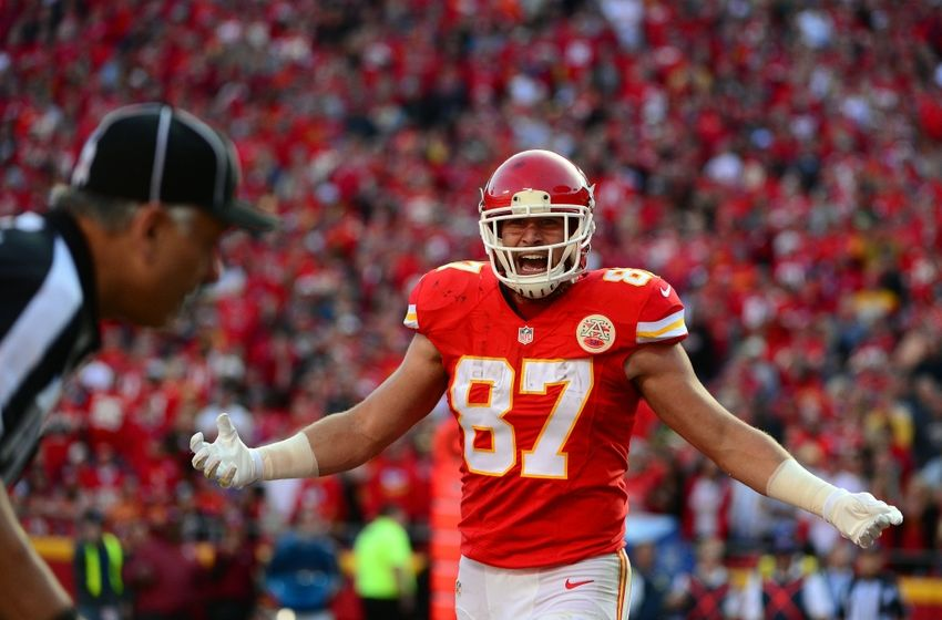 Nov 6, 2016; Kansas City, MO, USA; Kansas City Chiefs tight end Travis Kelce (87) reacts after the Jacksonville Jaguars did not receive a pass interference call during the second half at Arrowhead Stadium. The Chiefs won 19-14. Mandatory Credit: Jeff Curry-USA TODAY Sports