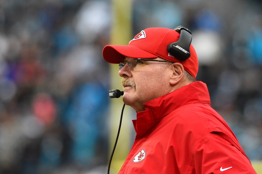 Nov 13, 2016; Charlotte, NC, USA; Kansas City Chiefs head coach Andy Reid on the sidelines in the fourth quarter. The Chiefs defeated the Panthers 20-17 at Bank of America Stadium. Mandatory Credit: Bob Donnan-USA TODAY Sports