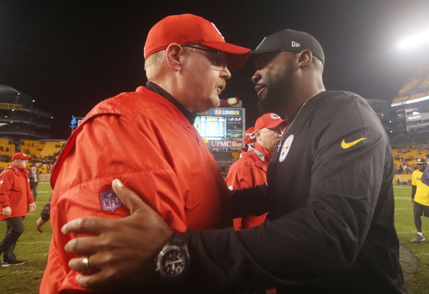 Oct 2, 2016; Pittsburgh, PA, USA;  Kansas City Chiefs head coach Andy Reid (L) and Pittsburgh Steelers head coach Mike Tomlin (R) meet at mid-field after their game at Heinz Field. The Steelers won 43-14. Mandatory Credit: Charles LeClaire-USA TODAY Sports