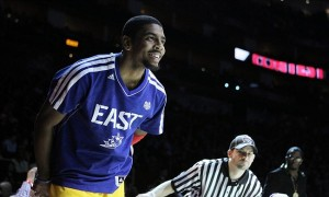 Feb 16, 2013; Houston, TX, USA; Cleveland Cavaliers guard Kyrie Irving reacts after winning the 2013 NBA three-point contest at the Toyota Center. Mandatory Credit: Brett Davis-USA TODAY Sports
