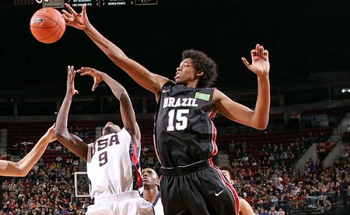 'He runs like a deer,' an exec said about Brazil's Lucas Nogueira. (Sam Forencich/NBAE via Getty Images)