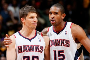 Kyle Korver (left) and Al Horford (right) will both miss the Atlanta Hawks' preseason finale in Dallas on Wednesday. (Source: Kevin C. Cox/Getty Images North America)