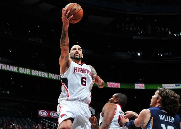 Pero Antic scored four points off the bench versus Memphis. (Scott Cunningham/NBAE/Getty Images)