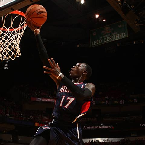 Rookie point guard Dennis Schroder hit the game-winning shot to beat the Bobcats and give the Hawks a thrilling 87-85 victory on Tuesday night, Oct. 8th, 2013. (Photo by Issac Baldizon/NBAE/Getty Images)