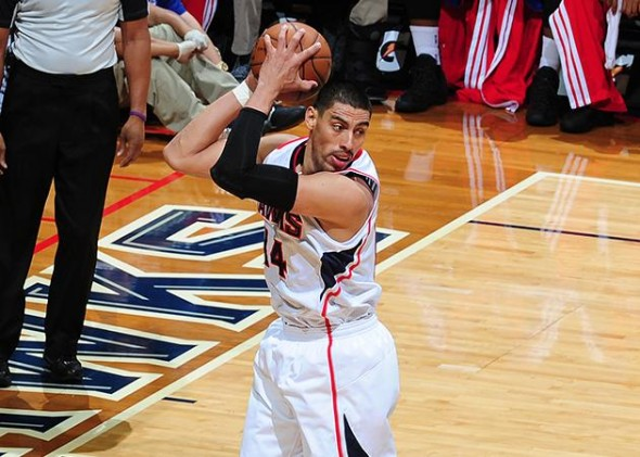 Gustavo Ayon started in place of Paul Millsap and had six points. (Scott Cunningham/Getty Images/NBA)