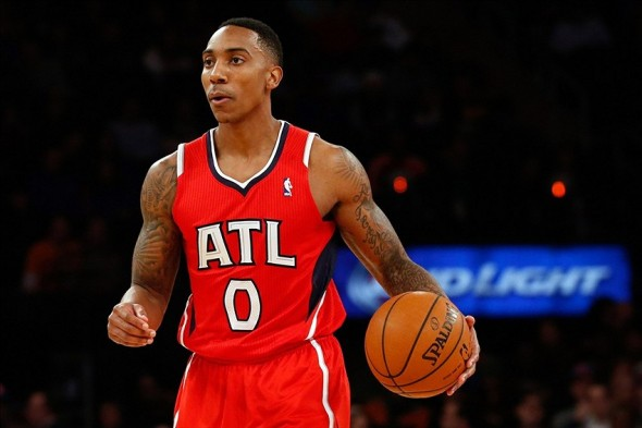 "Atlanta Hawks point guard Jeff Teague is listed as ""day-to-day"" with a sprained left ankle. (Mandatory Credit: Anthony Gruppuso-USA TODAY Sports)"