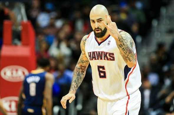 Jan 8, 2014; Atlanta, GA, USA; Atlanta Hawks center Pero Antic (6) reacts after shooting a three in the second half against the Indiana Pacers at Philips Arena. The Hawks won 97-87. Mandatory Credit: Daniel Shirey-USA TODAY Sports