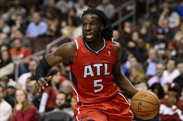 Jan 31, 2014; Philadelphia, PA, USA; Atlanta Hawks forward DeMarre Carroll (5) during the first quarter against the Philadelphia 76ers at the Wells Fargo Center. The Hawks defeated the Sixers 125-99. Mandatory Credit: Howard Smith-USA TODAY Sports