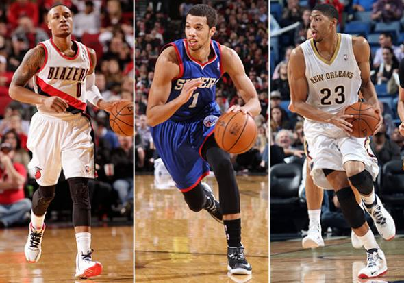 The Rising Stars Challenge will be headlined by, from left: Damian Lillard, Michael Carter-Williams and Anthony Davis. (Getty Images)