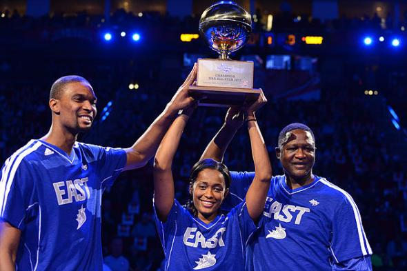 Team Bosh (Chris Bosh, Swin Cash, Dominique Wilkins) defeats Team Westbrook in 2013 Shooting Stars Challenge