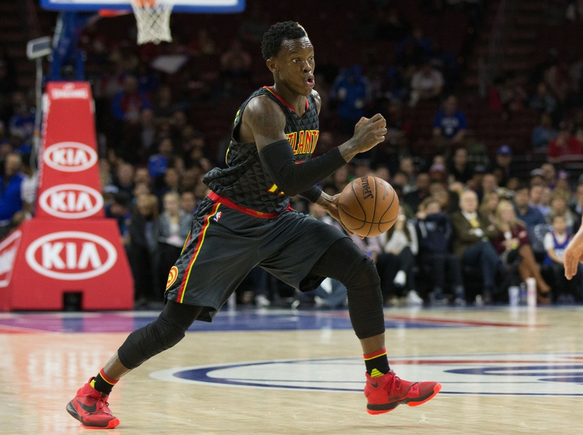 Feb 3, 2016; Philadelphia, PA, USA; Atlanta Hawks guard Dennis Schroder (17) dribbles against the Philadelphia 76ers at Wells Fargo Center. The Atlanta Hawks won 124-86.Mandatory Credit: Bill Streicher-USA TODAY Sports