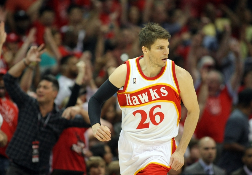 May 22 2015 Atlanta GA USA Hawks Guard Kyle Korver 26 Reacts After Making A Basket Against The Cleveland Cavaliers During First Quarter