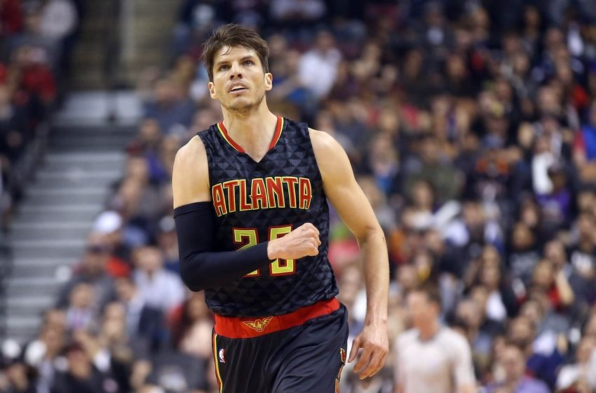 Mar 10, 2016; Toronto, Ontario, CAN; Atlanta Hawks guard Kyle Korver (26) celebrates after making a three-pointer against the Toronto Raptors at Air Canada Centre. Mandatory Credit: Tom Szczerbowski-USA TODAY Sports