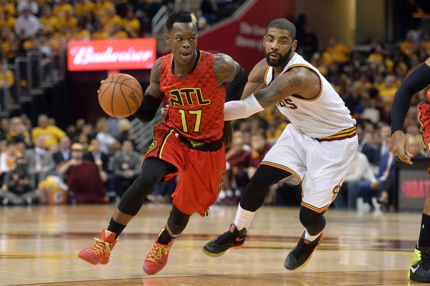 May 2, 2016; Cleveland, OH, USA; Atlanta Hawks guard Dennis Schroder (17) drives past Cleveland Cavaliers guard Kyrie Irving (2) during the second half in game one of the second round of the NBA Playoffs at Quicken Loans Arena. The Cavs won 104-93. Mandatory Credit: Ken Blaze-USA TODAY Sports