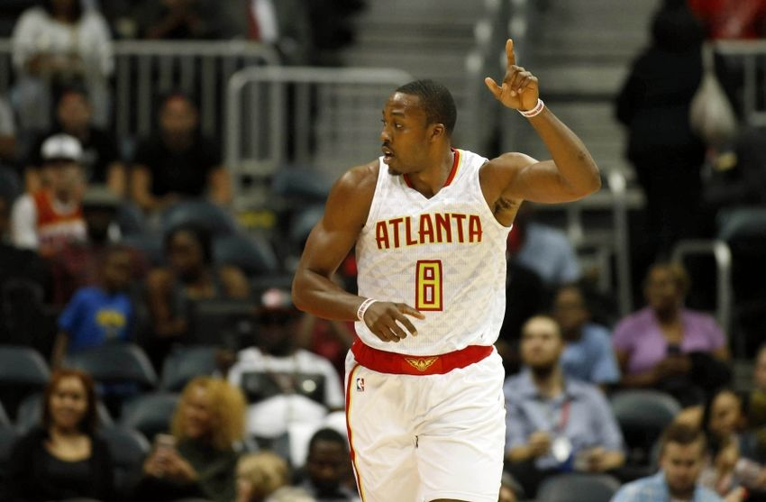 Oct 18, 2016; Atlanta, GA, USA; Atlanta Hawks center Dwight Howard (8) celebrates a play in the first quarter of their game against the New Orleans Pelicans at Philips Arena. Mandatory Credit: Jason Getz-USA TODAY Sports