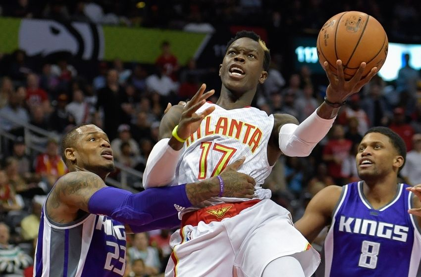 Oct 31, 2016; Atlanta, GA, USA; Atlanta Hawks guard Dennis Schroder (17) shoots against Sacramento Kings guard Ben McLemore (23) during the second half at Philips Arena. The Hawks defeated the Kings 106-95. Mandatory Credit: Dale Zanine-USA TODAY Sports