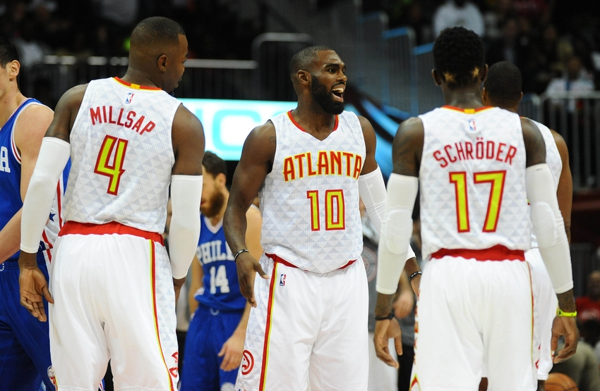 Nov 12, 2016; Atlanta, GA, USA; Atlanta Hawks guard Tim Hardaway Jr. (10) talks with teammates after a basket during the first half against the Philadelphia 76ers at Philips Arena. Mandatory Credit: Christopher Hanewinckel-USA TODAY Sports