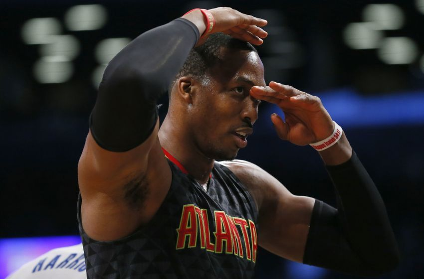 Jan 10, 2017; Brooklyn, NY, USA; Atlanta Hawks center Dwight Howard (8) reacts to fans during second half against the Brooklyn Nets at Barclays Center. The Hawks won 117-97. Mandatory Credit: Noah K. Murray-USA TODAY Sports