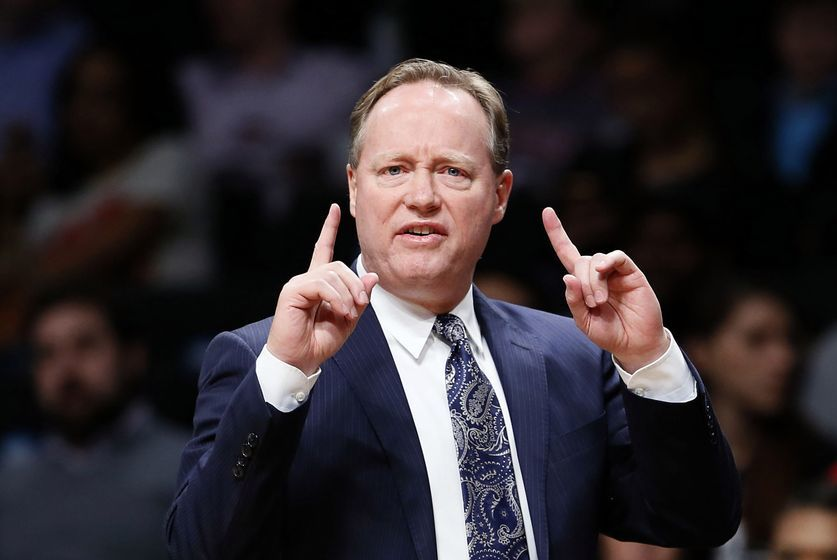 Jan 10, 2017; Brooklyn, NY, USA; Atlanta Hawks head coach Mike Budenholzer during second half against the Brooklyn Nets at Barclays Center. The Atlanta Hawks defeated the Brooklyn Nets 177-97. Mandatory Credit: Noah K. Murray-USA TODAY Sports