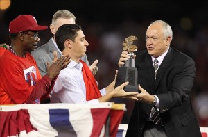Jon Daniels, Ray Davis and Nolan Ryan. Mandatory Credit: Tim Heitman-US PRESSWIRE