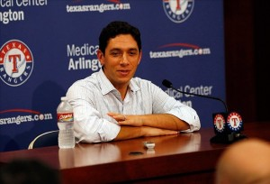 Jul 31, 2013; Arlington, TX, USA; Texas Rangers general manager Jon Daniels takes questions from the media at a press conference after the trade deadline had passed at Rangers Ballpark in Arlington. Mandatory Credit: Tim Heitman-USA TODAY Sports