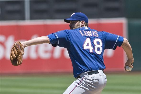 July 18, 2012; Oakland, CA, USA; Texas Rangers starting pitcher Colby Lewis (48) pitches during the second inning against the Oakland Athletics at O.co Coliseum. Mandatory Credit: Ed Szczepanski-USA TODAY Sports