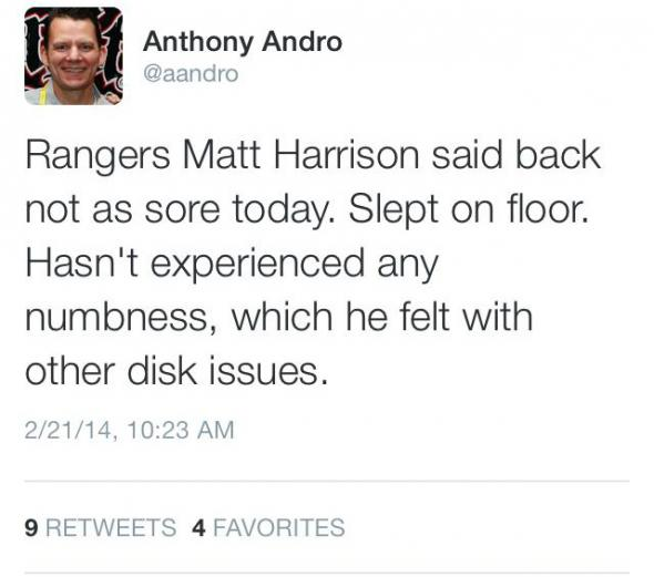 Texas Rangers' Matt Harrison is feeling better.