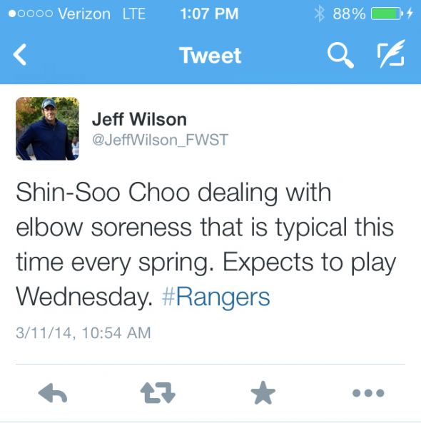 Shin Soo-Choo out of Tuesday's game vs. the White Sox.