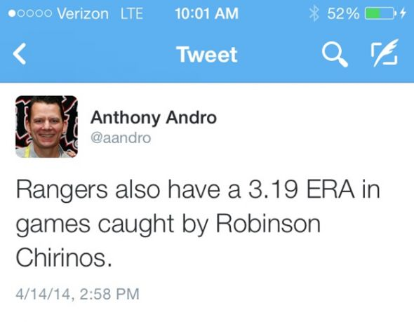 The Texas Rangers have a 3.19 ERA with Robinson Chirinos catching.