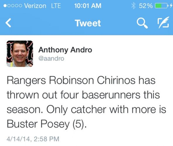 Robinson Chirinos has thrown out 100% of would be base stealers for the Texas Rangers.
