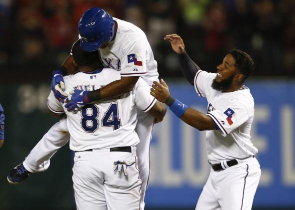 Adrian Beltre gets the game-winning hit against the Phillies on 4/1