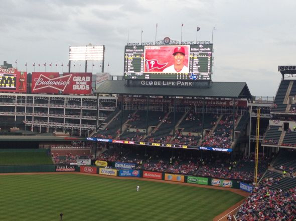 Jumbotron at Globe Life Park in Arlington