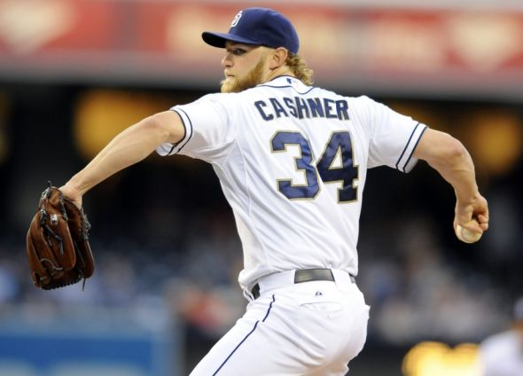 May 2, 2014; San Diego, CA, USA; San Diego Padres starting pitcher Andrew Cashner (34) throws during the first inning against the Arizona Diamondbacks at Petco Park. Mandatory Credit: Christopher Hanewinckel-USA TODAY Sports