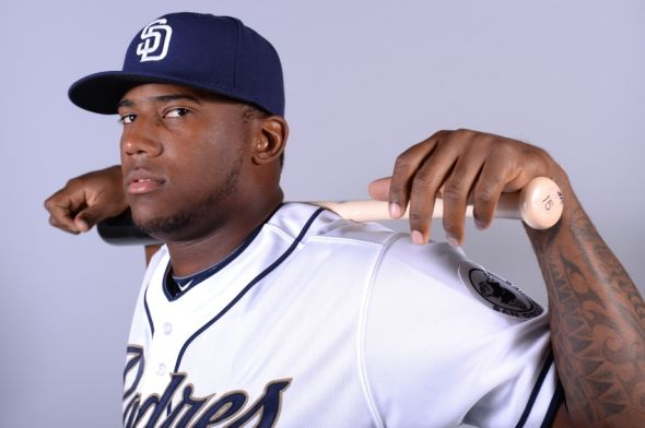 Feb 21, 2014; Peoria, AZ, USA; San Diego Padres right fielder Rymer Liriano (64) poses for a photo during photo day at Peoria Sports Complex. Mandatory Credit: Joe Camporeale-USA TODAY Sports