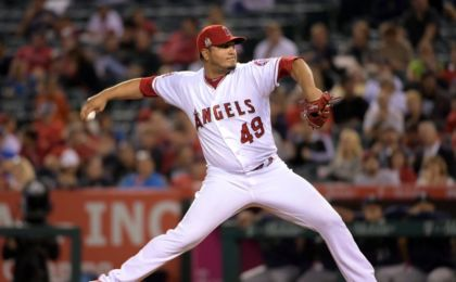 Sep 14, 2016; Anaheim, CA, USA; Los Angeles Angels of Anaheim pitcher Jhoulys Chacin (49) delivers a pitch against the Seattle Mariners during a MLB game at Angel Stadium of Anaheim. Mandatory Credit: Kirby Lee-USA TODAY Sports