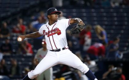 Sep 27, 2016; Atlanta, GA, USA; Atlanta Braves starting pitcher Tyrell Jenkins (61) delivers a pitch to a Philadelphia Phillies batter in the fifth inning of their game at Turner Field. Mandatory Credit: Jason Getz-USA TODAY Sports
