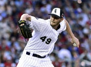 Jul 15, 2014; Minneapolis, MN, USA; American League pitcher Chris Sale (49) of the Chicago White Sox throws a pitch in the fourth inning during the 2014 MLB All Star Game at Target Field. Mandatory Credit: Scott Rovak-USA TODAY Sports