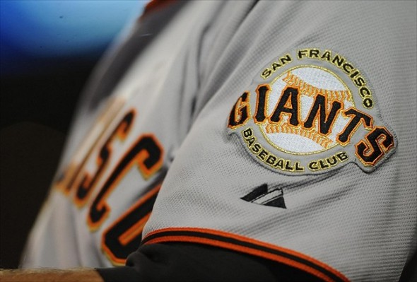 July 15, 2011; San Diego, CA, USA; General view of a San Francisco Giants logo on the sleeve of right fielder Nate Schierholtz (12) during the fifth inning against the San Diego Padres at Petco Park. Mandatory Credit: Christopher Hanewinckel-USA TODAY Sports