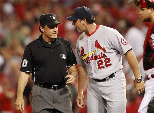 St. Louis Cardinals manager Mike Matheny -- here arguing with umpire Phil Cuzzi at Great American Ball Park -- has provided the leadership that has carried his team into first place in the tough National League Central Division. Credit: Frank Victores-USA TODAY Sports