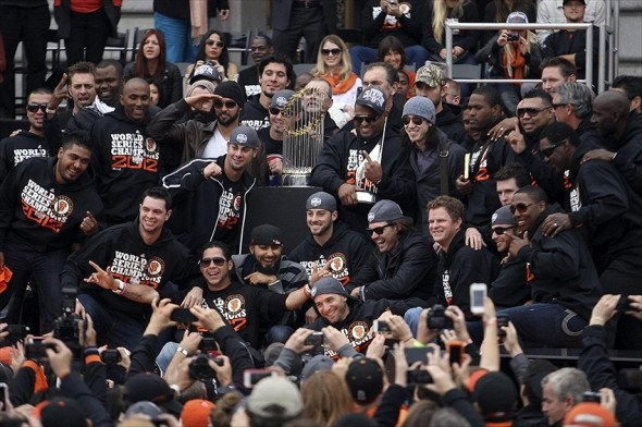 October 31, 2012; San Francisco, CA, USA; Members of the San Francisco Giants pose with the commissioner