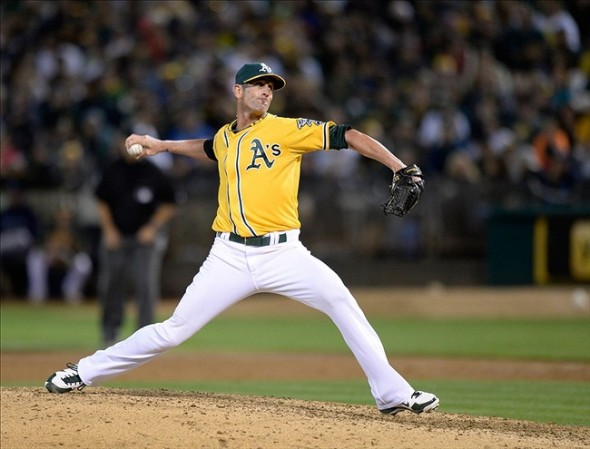 Aug 31, 2013; Oakland, CA, USA; Oakland Athletics relief pitcher Grant Balfour (50) pitches the ninth inning in a game against the Tampa Bay Rays at O.co Coliseum. The Athletics won 2-1. Mandatory Credit: Bob Stanton-USA TODAY Sports