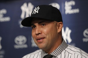 Dec 20, 2013; Bronx, NY, USA; New York Yankees new outfielder Carlos Beltran speaks during a introductory press conference at Yankees Stadium. Mandatory Credit: Noah K. Murray-USA TODAY Sports