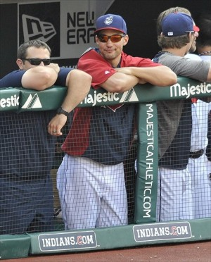 Jul 4, 2012; Cleveland, OH, USA; Cleveland Indians outfielder Grady Sizemore stands in the dugout during a game against the Los Angeles Angels at Progressive Field. Mandatory Credit: David Richard-USA TODAY Sports