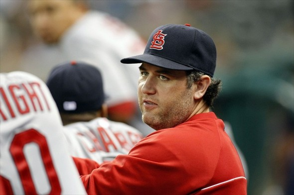 Sep 24, 2012; Houston, TX, USA; St. Louis Cardinals first baseman Lance Berkman (12) on the bench against the Houston Astros in the sixth inning at Minute Maid Park. The Cardinals defeated the Astros 6-1. Mandatory Credit: Brett Davis-USA TODAY Sports