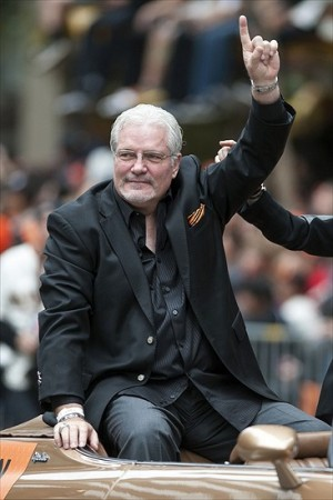 October 31, 2012; San Francisco, CA, USA; San Francisco Giants general manager Brian Sabean acknowledges the crowd during the World Series victory parade at Market Street. The Giants defeated the Detroit Tigers in a four-game sweep to win the 2012 World Series. Mandatory Credit: Ed Szczepanski-USA TODAY Sports