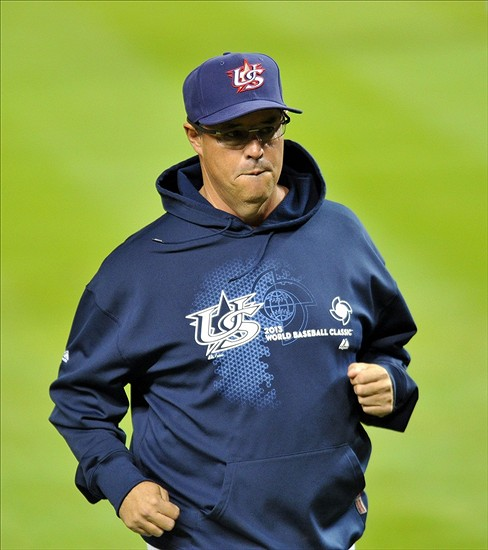 United States pitching coach Greg Maddux during the World Baseball Classic against Puerto Rico at Marlins Park. (Steve Mitchell-USA TODAY Sports)