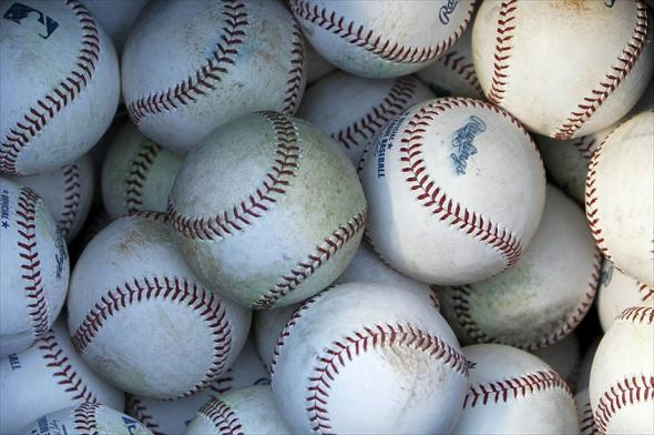 Sep 21, 2012; Houston, TX, USA; General view of Major League baseballs in a bucket before a game between the Houston Astros and Pittsburgh Pirates at Minute Maid Park. Mandatory Credit: Brett Davis-USA TODAY Sports