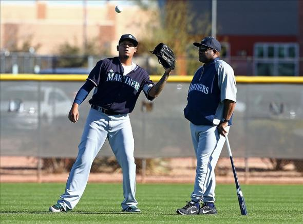 King Felix (left) next to new M's manager Lloyd McClendon (Mark J. Rebilas-USA TODAY Sports)