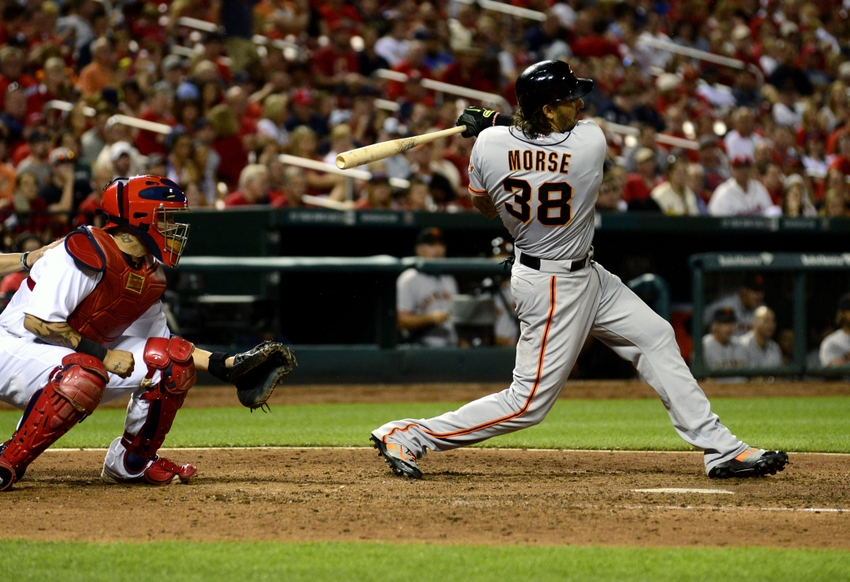 San Francisco Giants first baseman Michael Morse (38) hits a two run double off of St. Louis Cardinals relief pitcher Trevor Rosenthal (not pictured) during the eighth inning at Busch Stadium. Mandatory Credit: Jeff Curry-USA TODAY Sports